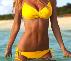 Yellow swimsuit bikini abs