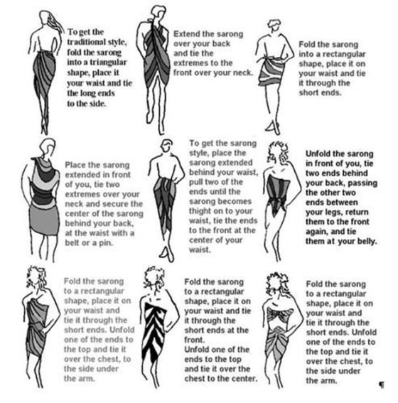Ways to wear a pareo