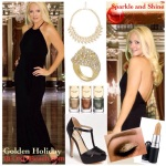 Black holiday halter top skirt outfit