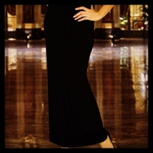 black caroline long jersey skirt