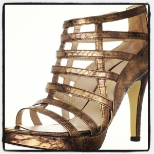 bronze franko sarto heels shoes