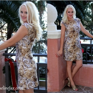 Miranda gold lace cocktail dress