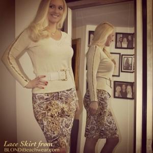 miranda gold lace designer pencil skirt
