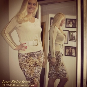 miranda gold lace designer pencil skirt