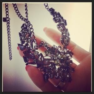 smoky crystal statement necklace