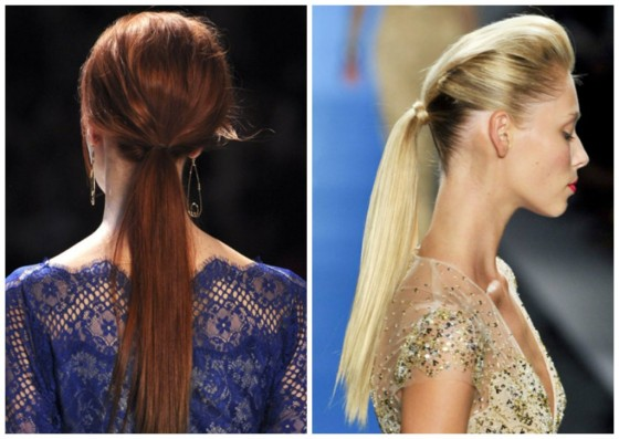 low ponytails runway hair style