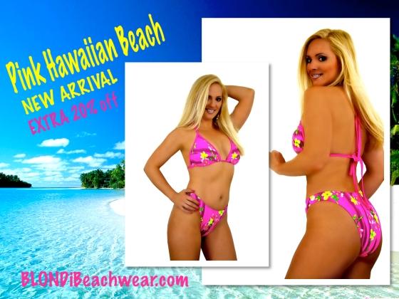 Pink hawaiian print brazilian bikini campaign