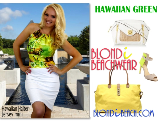 Hawaiian Green Halter Top Mini Skirt