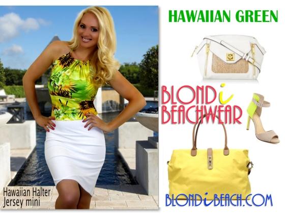 Hawaiian Green Halter Top Mini Skirt