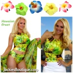 Hawaiian Green Halter Swimwear Top Coverup