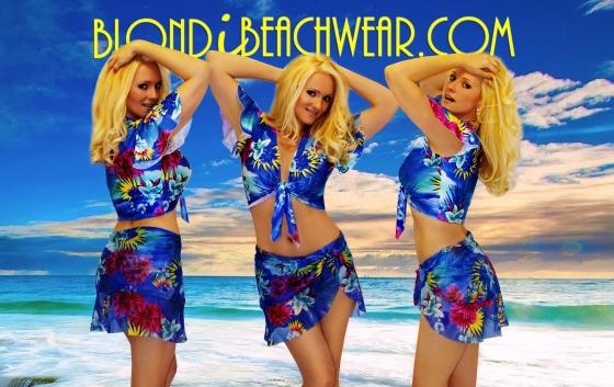 Hawaiian blue swimwear wrap coverup