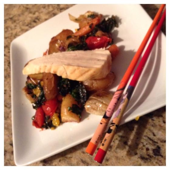 Chicken over grilled vegetables