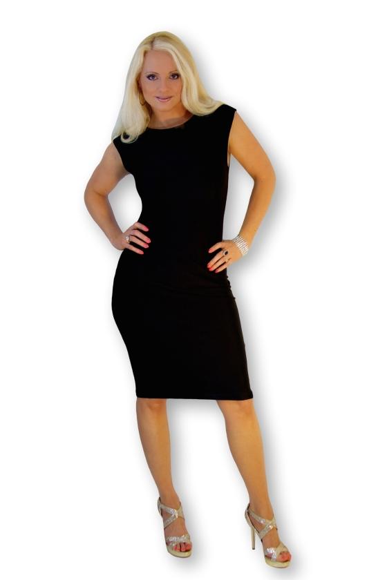 designer black couture cocktail dress
