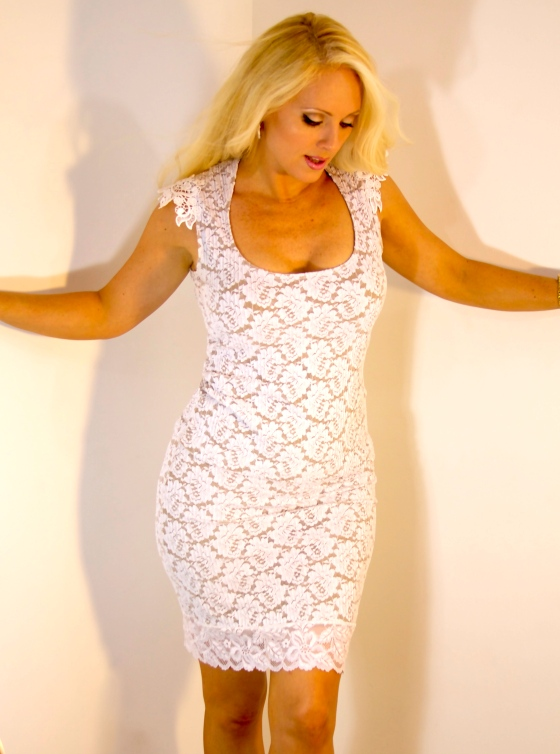 white lace couture skirt top set