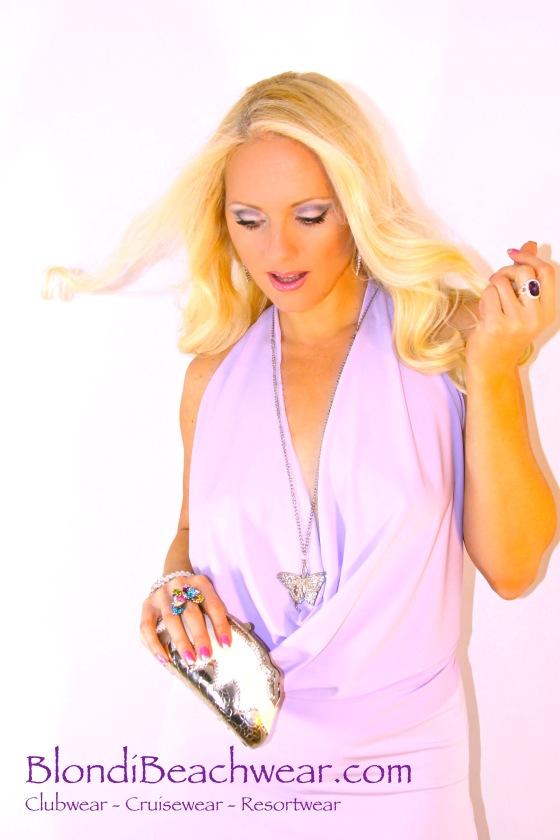 Lavender drape front clubwear top