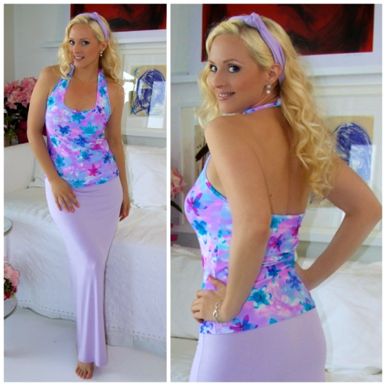 lavender maxi skirt with print halter top