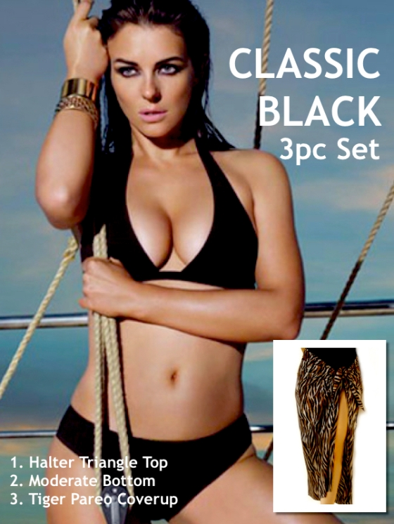 black halter triangle moderate bottom tiger coverup