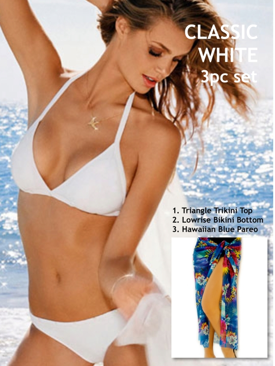 White trikini top and lowrise bottom w: pareo logo