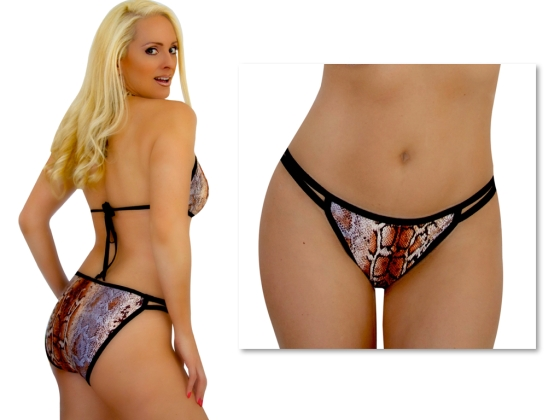 Snake Sequin Double string side bikini bottom
