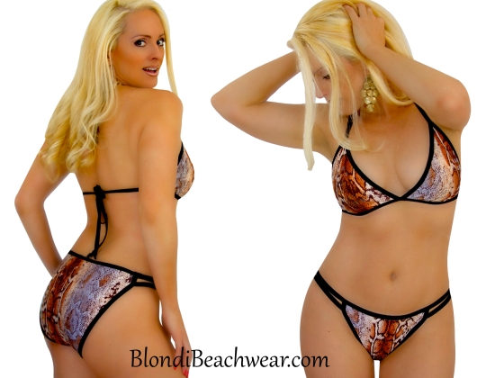 Snake Sequin animal print lowrise string bikini